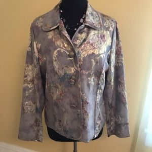 Chico's Grey floral Jacket size 2